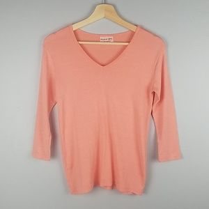Michael Stars Coral Basic 3/4 Sleeve V-Neck Top